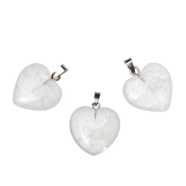 Kamienie szlachetne - Kryształ górski zawieszka serce 20x20mm, 78400
