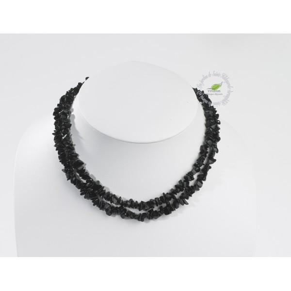 Kamienie szlachetne - Onyks czarny kamień polerowany korale 90 cm, 77060