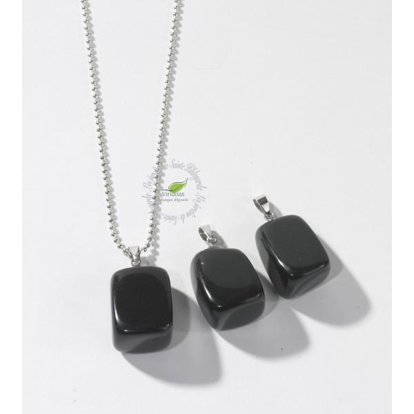 Kamienie szlachetne - Onyks czarny kamień polerowany zawieszka, 70052